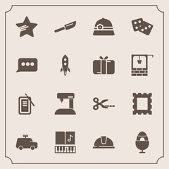 Modern, simple vector icon set with toy, restaurant, inkstone, note, photo, gambling, helmet, frame, sew, fashion, machine, cutlery, japan, safety, sound, success, knife, speech, ink, holiday icons