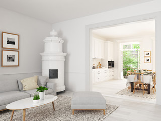 living room with nordic kitchen in loft apartment. 3D rendering