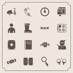 Modern, simple vector icon set with cooking, page, zoom, boy, sweet, trailer, ninja, cycle, bicycle, vacation, tank, power, japanese, journey, play, bike, switch, poker, equipment, button, game icons