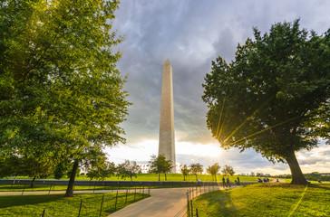 washington dc,Washington monument on sunset. Wall mural