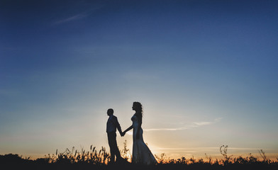 Beautiful newlyweds walking in the evening, holding hands. A stylish bridegroom takes a bride with curly hair by the hand. Wedding silhouette of the newlyweds. Portrait at sunset.