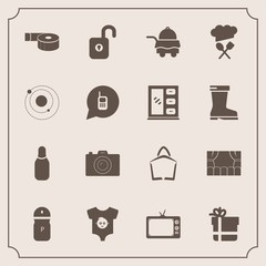 Modern, simple vector icon set with salt, screen, ball, spice, box, planet, kid, tape, clothes, sticky, bed, sale, camera, bowling, photography, seasoning, package, photo, , hotel, baby, theater icons