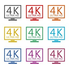 Ultra HD 4K icon, color icons set