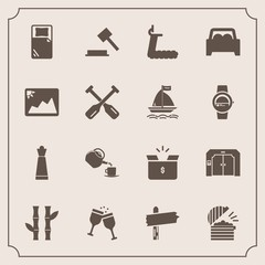 Modern, simple vector icon set with box, judge, car, vehicle, coffee, restaurant, wine, sign, nature, way, piece, game, arrow, bed, drink, asia, strategy, asian, food, package, cardboard, king icons