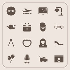 Modern, simple vector icon set with gadget, heart, chair, astronomy, home, watch, time, instrument, birthday, grass, health, smart, tool, lady, girl, woman, shoe, decoration, travel, engineering icons