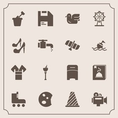 Modern, simple vector icon set with cake, skate, traditional, wine, drink, sport, ice, nature, video, diskette, camera, alcohol, animal, street, doughnut, dessert, play, background, road, handle icons