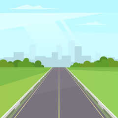 Road way to the city buildings on horizont. Landscape with highway traffic and cityscape under blue sky with clouds. Vector stock illustration in trendy flat style design