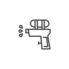 Water gun outline icon. linear style sign for mobile concept and web design. plastic water pistol simple line vector icon. Symbol, logo illustration. Pixel perfect vector graphics
