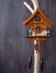 Traditional handmade colorful wooden cuckoo clocks with birds that chime the hour hanging on a wooden wall, one large one smaller