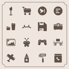 Modern, simple vector icon set with milk, play, roll, white, holder, app, flight, travel, plastic, book, airplane, business, commerce, media, frame, nutrition, roller, nature, photo, work, desk icons