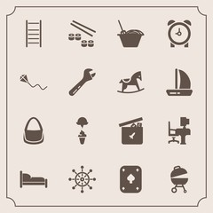 Modern, simple vector icon set with home, sushi, machine, table, furniture, toy, clock, kite, desk, ball, rudder, bear, wheel, fish, fashion, fun, cream, bed, sweet, food, seafood, work, play icons