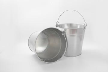 bucket metalic galvanized garden on white background