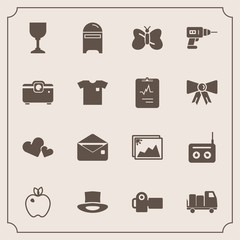 Modern, simple vector icon set with fruit, photographer, sound, shipping, mailbox, heart, media, healthy, butterfly, envelope, machine, photo, alcohol, photography, communication, romance, radio icons