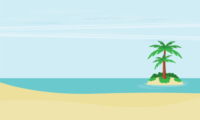 A tropical sea island with palm trees and sun. Flat design vector illustration.