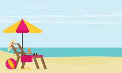 A tropical sea island. Flat design vector illustration.