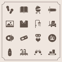 Modern, simple vector icon set with travel, grill, food, footwear, red, memory, plug, power, slipper, technology, flight, pool, white, concept, energy, library, cooking, sign, textbook, water icons