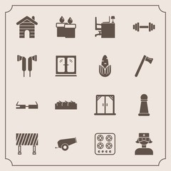 Modern, simple vector icon set with window, healthy, flame, game, apple, decoration, business, box, stove, kitchen, estate, weapon, fitness, office, piece, health, house, king, smart, care, gas icons