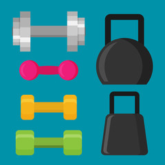 Flat design of dumbells Illustration
