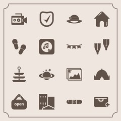 Modern, simple vector icon set with house, handle, planet, slipper, photo, plate, sale, image, camera, check, medicine, food, store, estate, frame, health, real, earth, film, dinner, music, add icons