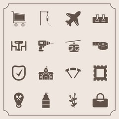 Modern, simple vector icon set with security, trolley, architecture, sky, aircraft, travel, table, dinner, picture, flight, wheat, test, photo, food, city, market, frame, government, check, cart icons