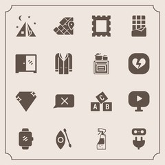 Modern, simple vector icon set with travel, spray, outdoor, kayaking, technology, food, housework, picture, camp, kayak, geography, video, photo, power, bar, border, abc, media, electricity, gem icons