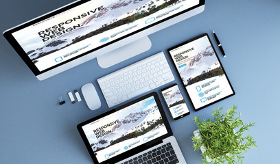 top view blue devices responsive website