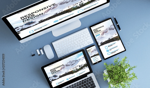 Wall mural top view blue devices responsive website