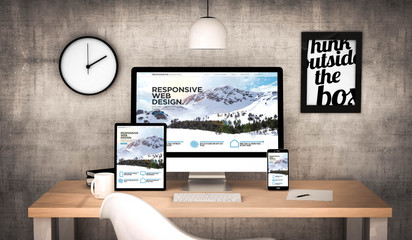 office workplace with responsive websites devices collection