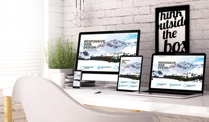 Wall Mural - Devices collection workplace with responsive website