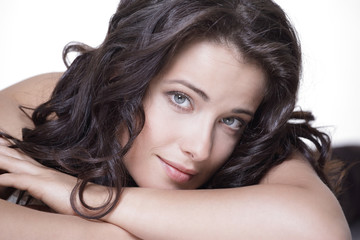 Skin care concept. Happy woman with clean glowing skin