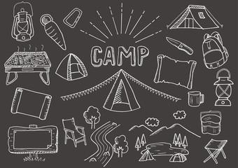 キャンプ関連のイラストセット(背景黒)