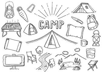 キャンプ関連のイラストセット