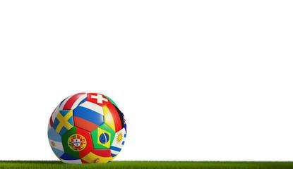 soccer ball blades of grass 3d rendering