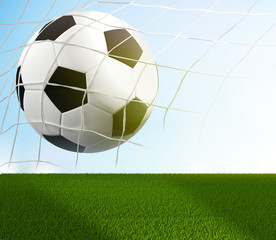 soccer ball in net and blades of grass 3d rendering goal concept