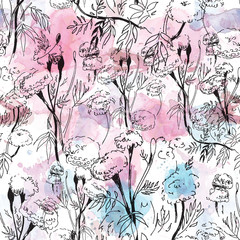 Contour floral pattern on abstract watercolor background