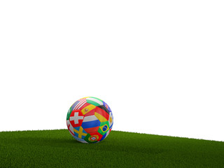 soccer ball blades of grass 3d rendering