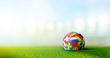 soccer stadium with national flags soccer ball 3d rendering