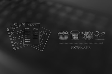 budgeting documents next to expenses licons ike housing food holidays and shopping