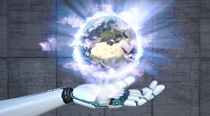 Robot Hand Earth