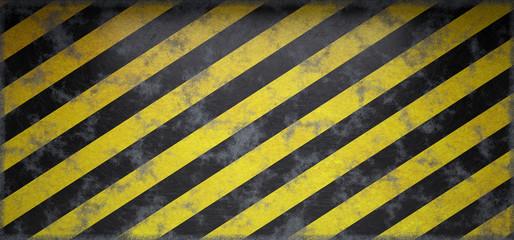 Rusty Scratched Grunge Hazard  Striped Warning Empty Wall. 3D Rendering