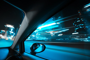 Fototapete - Car speed drive on the road in night city