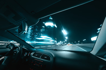 Wall Mural - Car speed drive on the road in night city