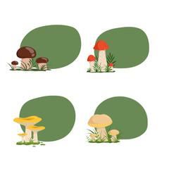 Vector set of stickers with cartoon mushrooms