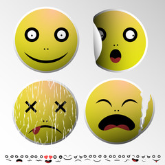 Set of emoticons. Emotions. Set of emoticons. Emotions. Stickers in the form of emoticons. Yellow smileys.