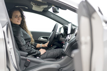 Woman in vehicle interior