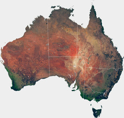Large (143 MP) satellite image of Australia with internal (states) borders. Country photo from space. Isolated imagery of Australia. Elements of this image furnished by NASA.