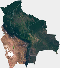 Large (26 MP) satellite image of Bolivia with internal (departments) borders. Country photo from space. Isolated imagery of Bolivia. Elements of this image furnished by NASA.