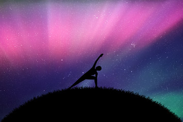 Yoga at night. Vector illustration with silhouette of yoga girl on grass. Northern lights in starry sky. Colorful aurora borealis