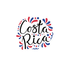 Hand written calligraphic lettering quote Costa Rica with decorative elements in flag colors. Isolated objects on white background. Vector illustration. Design concept for independence day banner.