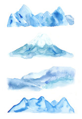 Watercolor set of mountains in blue color.